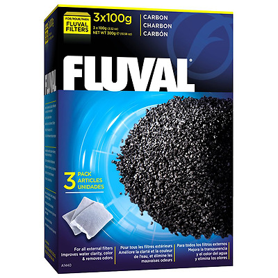 Fluval Activated Carbon Filter Media - Aquarium Fish Tank - 3 x 100g bags (300g)