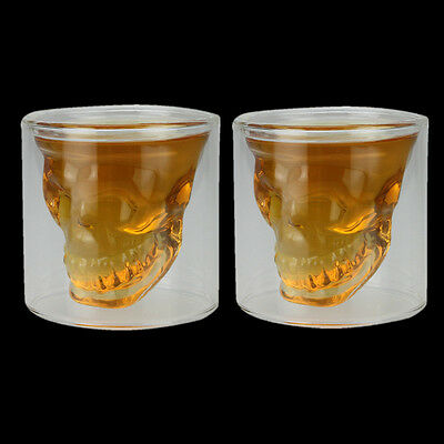 2 x Crystal Skull Head Vodka Shot Whiskey Home Wine Beer Tea Glass Drinking Cup