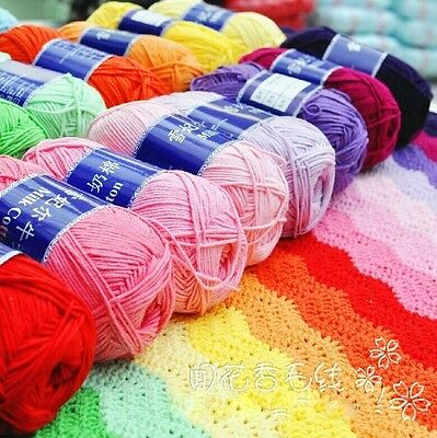 Wholesale! Soft Milky Cotton baby yarn skein,DK,Sweater scarf Knit,40 colors