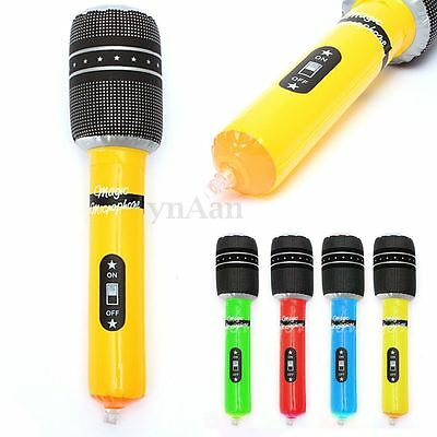 4PCS Inflatable Microphone Blow Up Mic Music Hen Party Favor Prop Color Randomly
