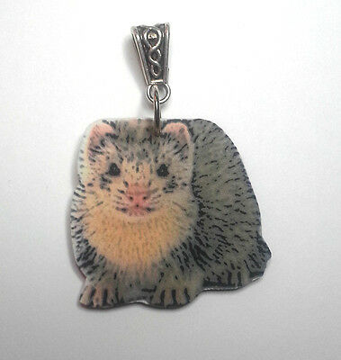 Ferret Necklace Handcrafted Plastic Made in USA