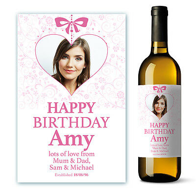 Personalised Happy Birthday Wine Label Gift with Photo