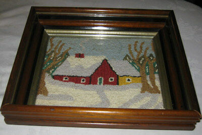 #1 Antique Primitive Country Farm Home Hooked Rug Art Wood Glass Box Wall Frame