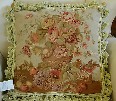 "18"" French Country Style Handmade PetitPoint Needlepoint Pillow w/Tassel WM-2B"