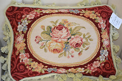 "12""x 16"" French Country Style Handmade Petite Point Needlepoint Pillow WM-84"