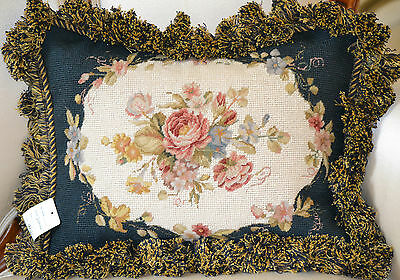 "12""x16"" French Country Handmade Petite point Needlepoint Pillow Cushion DM-44"