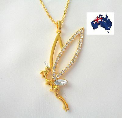 Tinkerbell Rose Gold Plated Fairy Angel Pendant Necklace Jewellery FREE POSTAGE