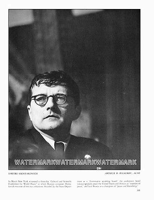 Dmitri Shostakovich Russian Composer and Pianist: Book Clipping
