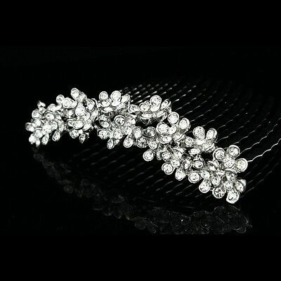 Elegant Bridal Flower Rhinestones Crystal Prom Wedding Tiara Hair Comb 7812