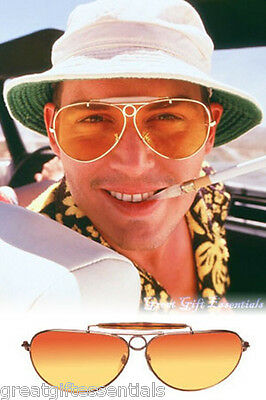 Fear and Loathing Style AVIATOR SUNGLASSES Glasses Gold Amber Orange Hunter Fade