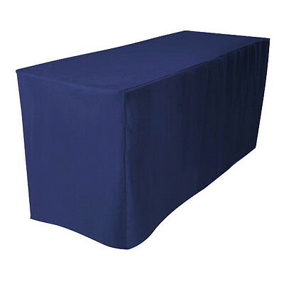 "4' Fitted Polyester Table Cover Wedding Banquet Tablecloth 24"" Width - NAVY BLUE"