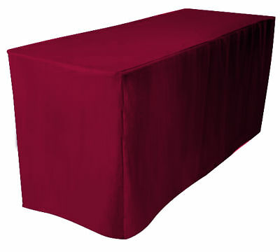 6' Fitted Polyester Table Cover Wedding Banquet Event Tablecloth - BURGUNDY RED