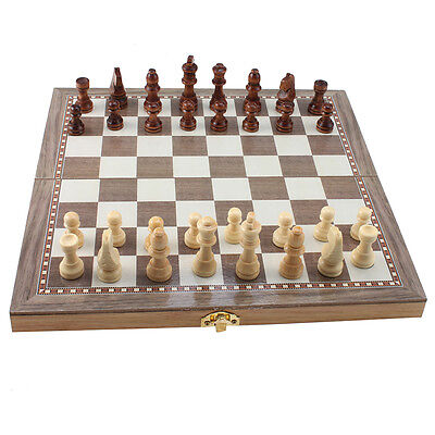 Deluxe Wooden Folding Chess/Checker/Backgammon Combination Game Set 3-in-1 10*10
