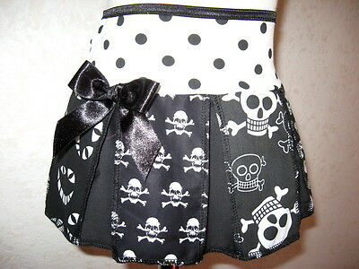 NEW Gothic Black white  Disturbed Faces,Funky Skulls Skirt All sizes Party Punk