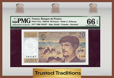TT PK 151a 1980-86 FRANCE 20 FRANCS PMG 66 EPQ GEM UNCIRCULATED