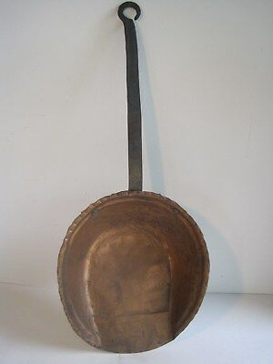 """Antique Hand Forged Hammered Copper Shovel Fireplace Tool Large 21"""" Rustic Old"""