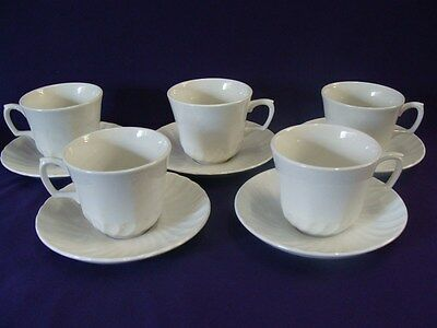 RIDGWAY ENGLAND WHITEHALL CUPS & SAUCERS - SET OF 5 - PERFECT