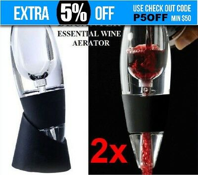 2x New Magic Decanter Essential RED Wine Aerator & Sediment Filter with Gift Box