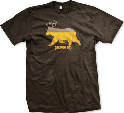 39e575e633724 Beer Bear Deer Combined Booze Alcohol Drinking FREE SHIPPING New Mens T- shirt