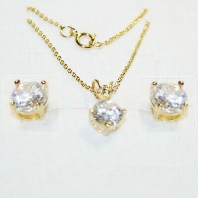 Round Diamond Alternatives Solitaire Pendant Necklace Stud Earrings Matching Set