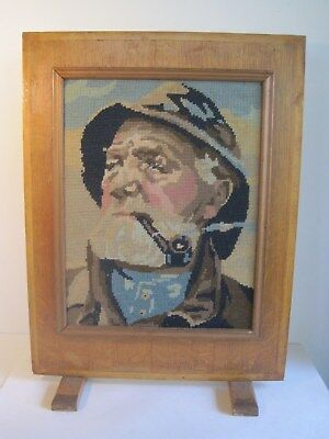 Vintage Maritime Nautical Old Needlepoint Fire Screen English Quality Art Sailor