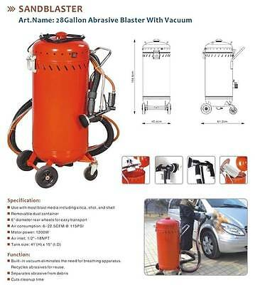 28 Gallon Abrasive Sand Blaster with Built in Vacuum. Sand Blast Pot.