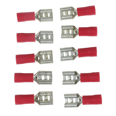 20Pcs 6.3mm Insulated Female Spade Terminal Crimp Wire Connector 22-18AWG Red YL