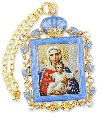 Russian Orthodox Icon Pendant Necklace Madonna and Child Jesus Christ Religious