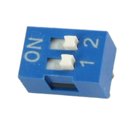 10 Pcs 2.54mm Pitch 2 Position  Piano Type DIP Switch Blue Jgibs