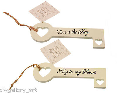 Shabby Chic Wooden Key Plaque with Slogan. Hanging Decoration.Size 16cm x 6cm