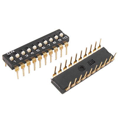 2 Pcs 2.54mm Pitch 10 Position IC Type DIP Switch Black Kjnnr