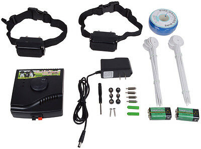 Underground Electric Dog Fence System Waterproof 2 Shock Collars for 2 Dogs New