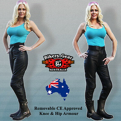 New Womens Leather Motorcycle Touring Pants Ce Armour 1.3Mm A Grade Leather  10