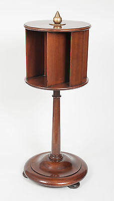 An Antique Edwardian Mahogany Library Rotating Book and Newspaper Stand