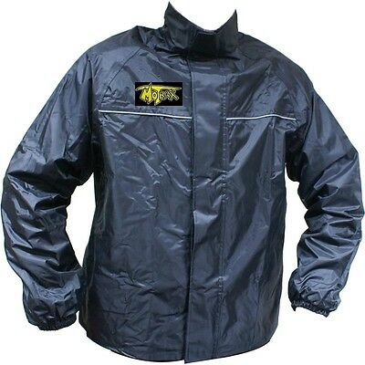Motrax Motorcycle Bike Scooter 100% Waterproof Unlined Rain Over Coat Top Jacket