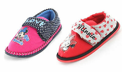 Girls Minnie Mouse Slippers Shoes Pink Red Polka Dot Children's Size UK 6 - 12