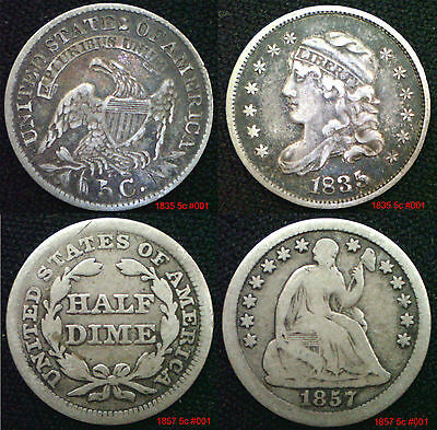 USA ½ Dimes 5 Cents Half Dimes Silver Coins choose supplied in cion wallet