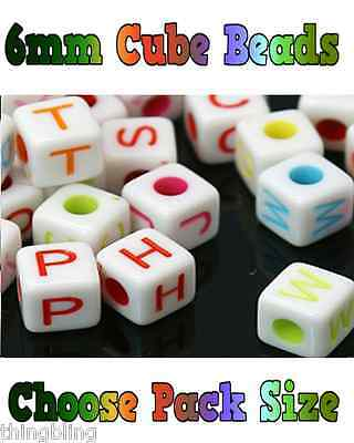 Acrylic SINGLE LETTER A-Z White Cube ALPHABET BEADS 6mm Mixed Letter Colours