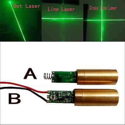 12mm 10mW 532nm Green Dot/Line/Cross Line Laser Module with Driver Spring/Wire