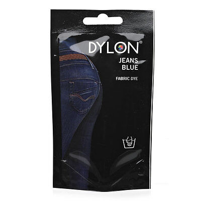 DENIM JEANS BLUE DYLON HAND WASH FABRIC CLOTHES DYE 50g TEXTILE PERMANENT COLOUR