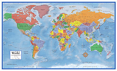 48x78 World Classic Premier 3D Wall Map - Large poster mural art print wall maps