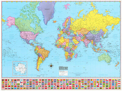 Political World Laminated Wall Map Mural Large Poster Art Print w/ Flags
