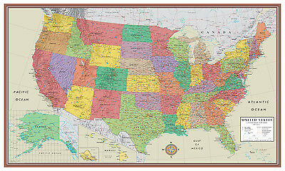 United States, USA, US Contemporary Elite Wall Map Large Mural Poster Art Decor
