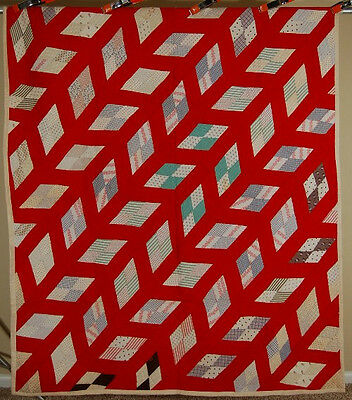AMAZING Vintage 1880's Diamonds Antique Quilt, NICE RED & 3D Stair Step Design!