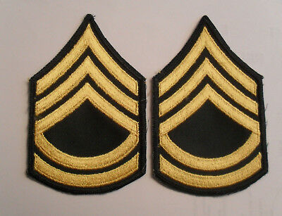 EARLY VIETNAM US ARMY SGT  1st CLASS CHEVRONS EMBROIDERED ON TWILL PAIR CUT EDGE