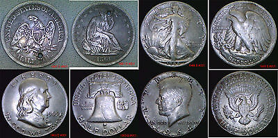 USA Silver Half Dollar Seated Peace Franklin, Kennedy Your Choice in wallet