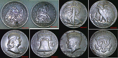 USA Silver Half Dollars Seated Peace Franklin, Kennedy Your Choice in wallet