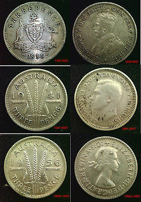 Australia Silver 3d Threepence 1910 - 1964 Choice of coin in coin wallet