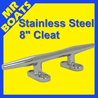 "8"" 200mm - BOAT CLEAT - Stainless Steel Slimline H-DUTY Rope Tie FREE POST NEW"