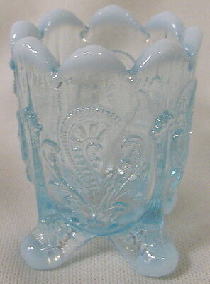 Blue Opalescent Glass Inverted Fan & Feather Pattern Toothpick Holder